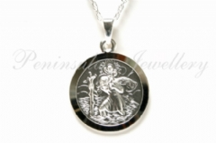 cdfc9b31826 Solid Sterling Silver 18mm St Christopher Pendant and 18